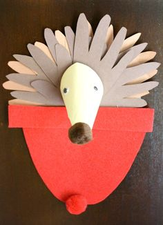 Hedgehog Craft to go with the book, One Snowy Night