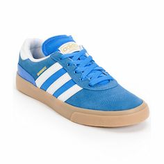 Initiate awesome with the durable Adidas Busenitz Vulc Bluebird, white, and gum skate shoe.