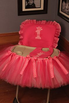 High chair tutu. Seriously so stinkin adorable.
