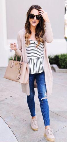 summer outfits  Stripe Summer Top