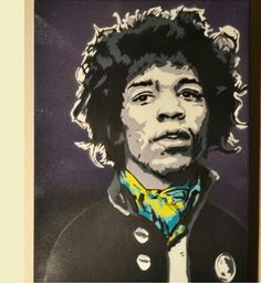 Jimmy hendrix experience 4layers stencil graffiti 40×25 canvas