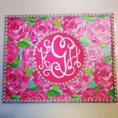 Lilly Pulitzer Monogram Painting..use my old pearls for this!