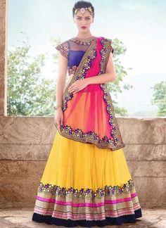 Sunlight Yellow And Pink Net Zari And Embroidery Work Lehenga Saree http://www.angelnx.com/