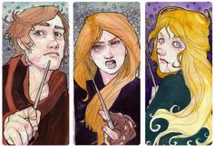 Harry Potter, and the trio of Neville/Ginny/Luna.  From glockart.livejournal.com.