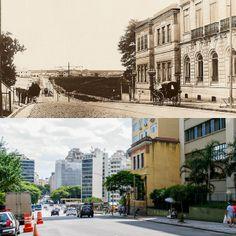 Foto comparativa: avenida Brigadeiro Luiz Antonio, região do Centro, em 1902 (foto do arquivo Estadão) e em 2014 (foto de Flavio Moraes).