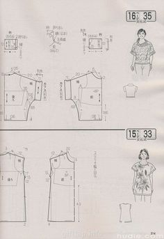 Not all japanese, but similar principle, pattern diagrams from Lady boutique & Cotton Time, amoungst others. Japanese Sewing Patterns, Easy Sewing Patterns, Sewing Tutorials, Clothing Patterns, Sewing Blouses, Sewing Shirts, Pattern Cutting, Pattern Making, Sewing Art