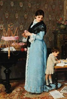 """A Mother"" -- by Silvestro Lega (Italian, 1826–1895)"