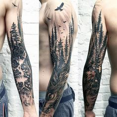 Nature Pine Trees With Wolf Unique Mens Sleeve Tattoo