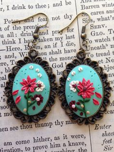 Floral polymer clay pendant earrings on Etsy, $20.00