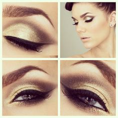 Outstanding gold eye make up. All Things Beauty, Beauty Make Up, Beauty Full, Beauty Shop, Hair Beauty, Love Makeup, Makeup Looks, Stunning Makeup, Amazing Makeup