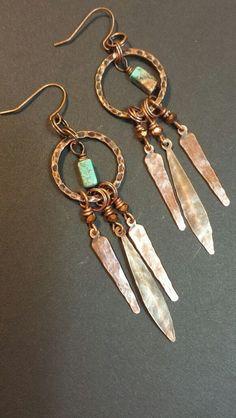 Metal Dangle Earrings Chandelier Earrings Boho Chic Earrings Southwestern Jewelry Mixed Metal Earrings Bohemian Earrings (20.00 USD) by HattieOliviaDesigns - handmade - jewelry - jewellery - artisan ---
