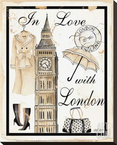 In Love with London Stretched Canvas Print by Kathy Hatch at Art.com