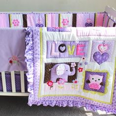 Baby Bedding Bed Baby Bumper Set Cot Bedding Set Unisex,(bumper+duvet+bed cover+bed skirt) If You will buy. Purple Crib Bedding Sets, Baby Girl Bedding Sets, Baby Crib Bedding, Nursery Bedding Sets, Crib Mattress, Purple Comforter, Comforter Sets, Baby Crib Bumpers, Baby Bumper