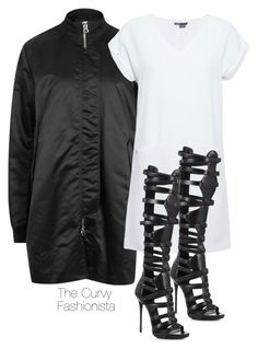 """Untitled #438"" by thecurvyfashionista ❤ liked on Polyvore featuring Acne Studios, Vince and Giuseppe Zanotti"