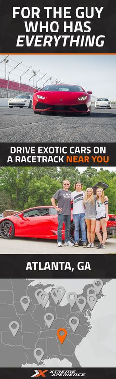 It's never been easier to give a gift to the guy who has everything. Driving a Ferrari, Lamborghini, Porsche or other exotic sports car on a racetrack is a unique gift idea that is guaranteed to leave a smile on his face, a good story to tell and a life-long memory. Xtreme Xperience brings the thrill of a lifetime to you at Atlanta Motorsports Park from April 22-24 and November 11-13, 2016. Reserve your Supercar Xperience today for as low as $219. Space is limited