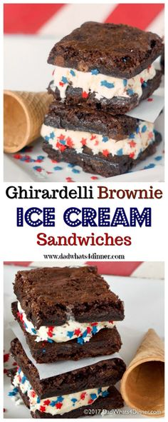These Ghirardelli Brownie Ice Cream Sandwiches is the perfect treat for summer. Decadent triple chocolate brownies stuffed with cool vanilla ice cream! via @dadwhats4dinner
