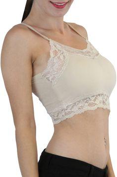5876142f4515a Pick A Soft Knit Lace Trim Adjustable Strap Padded Cami Bralette Yoga  Sports Bra