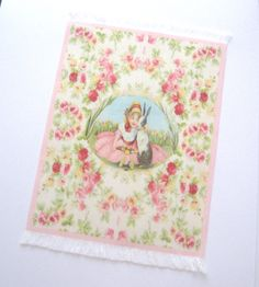 dollhouse rug mat vintage easter design  12th scale miniature by Rainbowminiatures on Etsy