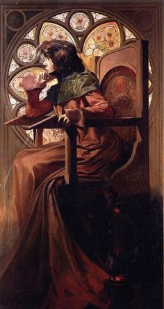 Alphonse Mucha (1860-1939): Sarah Bernhardt. This one is less stylised. You could do something similar.