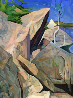 "Bert Gallery: Kathy Hodge ""Shore of the Tarn,"" 1998, oil/panel, 12x10 (Artist in Residence, Acadia National Mark, Maine)"