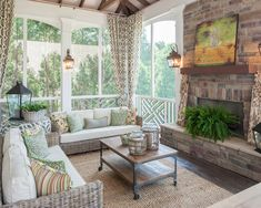 Screened Porch Design,Like the idea of corner curtains to be pulled for privacy - Fox Home Design House Design, Outdoor Living Space, Travertine Patio, Home, Corner Curtains, Screened Porch Designs, House With Porch, Home Decor, Porch Design