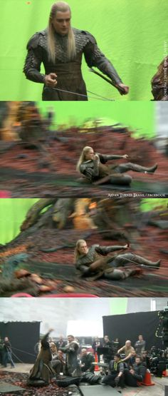 behind the scenes - I don't what Orlando (Legolas) is doing, but it looks cool! Orlando said he wanted to do all his stunts himself.