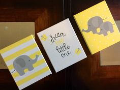Peint à la main 3 éléphant murale art Dream Big little one