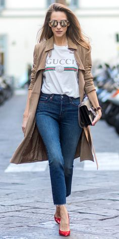 Everyone Is Wearing this Gucci Tee at Fashion Week - Under a Trench Coat from InStyle.com