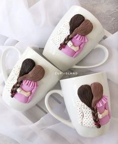 Handmade Gift , polymer clay Cups, Dolls by UniqueArtBox Easy Polymer Clay, Polymer Clay Dolls, Diy Clay, Mug Crafts, Diy Crafts For Gifts, Graduation Gifts For Friends, Cousin Gifts, Mug Art, Clay Mugs