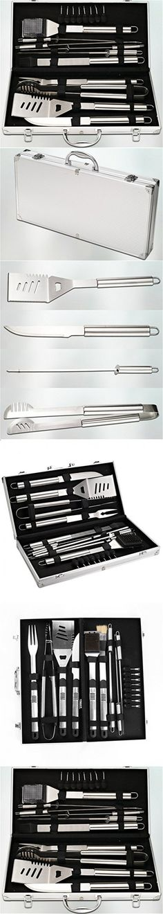 RoseFlower Premium 18 Pieces Stainless Steel BBQ Set with Aluminum Storage Case - Heavy Duty Professional Outdoor Barbecue Grill Tool Accessories Kit #1 - Perfect Christmas Gifts Idea