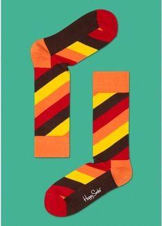 Polka Stripe Combed Cotton Socks by Happy Socks
