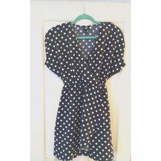 H&M Polka Dot Dress 50's style navy blue and white polka dot dress. H&M Dresses Mini