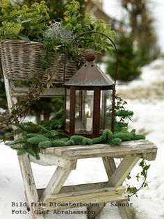 After Christmas winter decor: Use lanterns with greenery Christmas Porch, After Christmas, Noel Christmas, Primitive Christmas, Outdoor Christmas, Country Christmas, White Christmas, Christmas Wreaths, Christmas Decorations