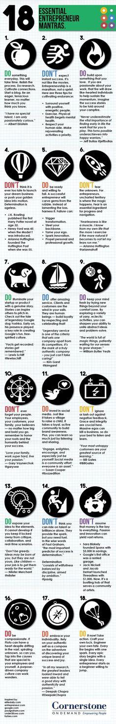 18 Essential Entrepreneur Mantras Infographic