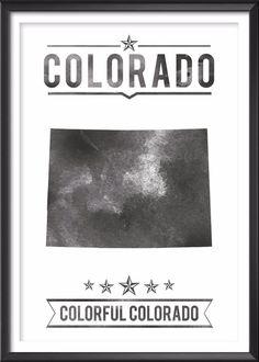 Colorado State Typography Print
