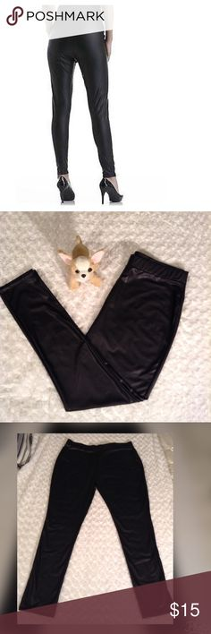 "Size XL Kardashian Kollection leggings Faux leather leggings size XL,inseam29,waist measures at 32 and hips 20"" -elastic waist Kardashian Kollection Pants Leggings"