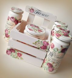 Nice shabby chic idea - for the kitchen - decoupage