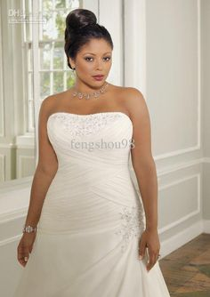 Wholesale Chapel Train Plus Size Bride Gown Strapless Beaded Chiffon Satin Wedding Dresses Detachable strap, Free shipping, $130.8~161.0/Piece | DHgate Mobile