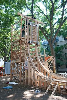 build a roller coaster in the backyard, like these five people! Backyard Playground, Backyard Patio, Playground Ideas, Homemade Roller Coaster, Diy Coasters, Roller Coasters, Ninja Warrior Course, Decks, Outdoor Fun For Kids
