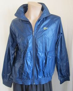 IZOD LACOSTE Men's VINTAGE Blue ALLIGATOR Windbreaker Full Zip Jacket M Medium #IzodLacoste #Windbreaker