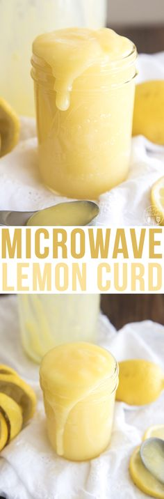 Microwave Lemon Curd - This deliciouslemon curd is made with only 4 ingredients and ready in about 5 minutes. Its the perfect way to add lemon to your favorite foods! Lemon Desserts, Lemon Recipes, Fun Desserts, Sweet Recipes, Delicious Desserts, Yummy Food, Sauce Recipes, Microwave Lemon Curd, Condensed Milk Cookies