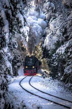 #train #steam #snow