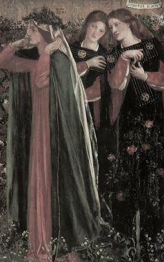 Dante Gabriel Rossetti, The Salutation of Beatrice (detail), 1859