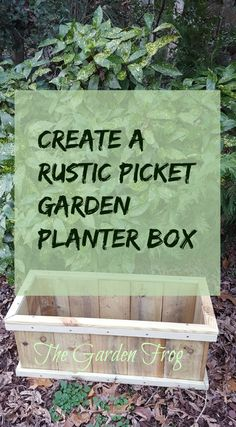 Create a rustic picket garden planter box Garden Frogs, Garden Planter Boxes, Garden Projects, Beautiful Gardens, Home And Garden, Outdoors, Rustic, Create, Flowers