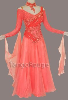 Coral Ballroom Waltz Smooth Dance Dress ( and have the sleeves go all the way on the shoulders )