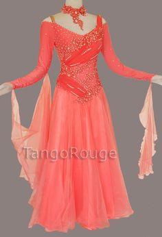 Coral Ballroom Waltz Smooth Dance Dress