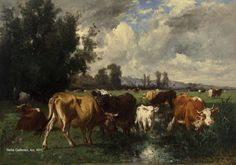 Emile Van Marcke de Lummen - Cattle in a Field Oil on canvas 39 x 55 inches Signed and dated Barbizon School, Favorite Words, Cattle, Oil On Canvas, Van, Gallery, Painting, Animals, Instagram