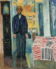 """themodernartists: """"Edvard Munch Self-portrait after the Spanish Flu, Oil on canvas. Edvard Munch Self Portrait: Between Clock and Bed, Oil on canvas. Henri Matisse, Edward Munch, Oil On Canvas, Canvas Art, Art Du Monde, Jasper Johns, San Francisco Museums, Arte Popular, Museum Of Modern Art"""