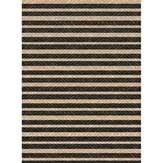 Woven Indoor/ Outdoor Summer Stripe Black/ Beige Patio Rug (5'3 x 7'6)