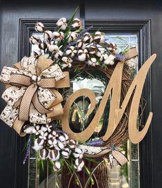 Farmhouse Decor Cotton Wreath Farmhouse wreath cotton decor Initial wreath year round wreathFixer Upper by MercyWreaths on Etsy Diy Wreath, Grapevine Wreath, Burlap Wreath, Wreath Ideas, Front Door Decor, Wreaths For Front Door, Initial Wreath, Initial Decor, Cotton Decor
